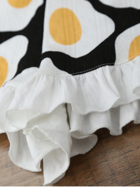 chic Fried Egg Print T-Shirt with Shorts Loungewear - WHITE S Mobile