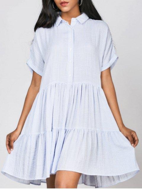 sale Ruffles Striped Casual Shirt Dress - STRIPE ONE SIZE Mobile