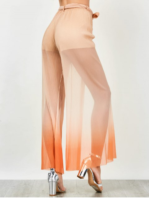 fashion Surplice Slit Shiny Wide Leg Pants - ORANGE S Mobile