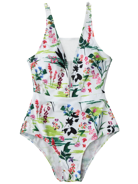 shops Fishnet Insert Floral One Piece Swimsuit - WHITE L Mobile