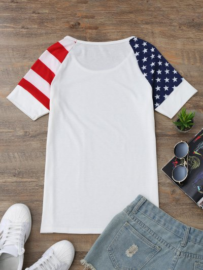 Raglan Sleeve Patriotic American Flag T-Shirt от Zaful.com INT