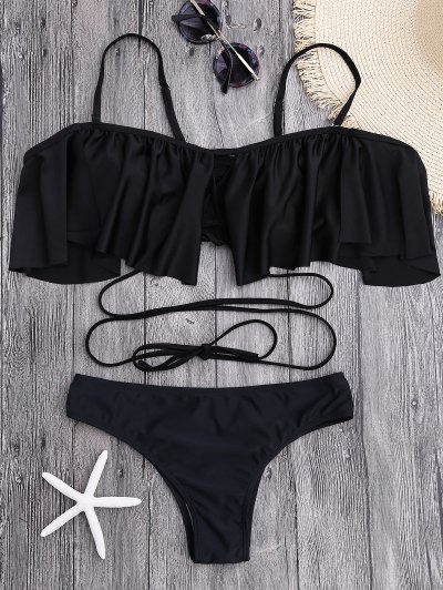 Flounce Criss Cross Bikini Set - Black