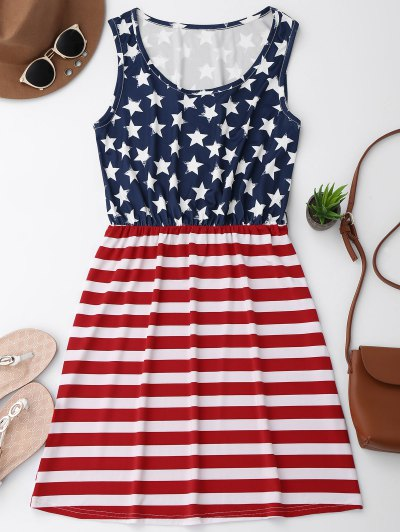 Elastic Waist Patriotic American Flag Dress - Red With White