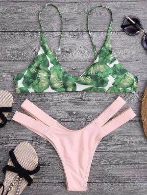 Palm Tree Bikini Top And Bandage Swim Bottoms - Shallow Pink