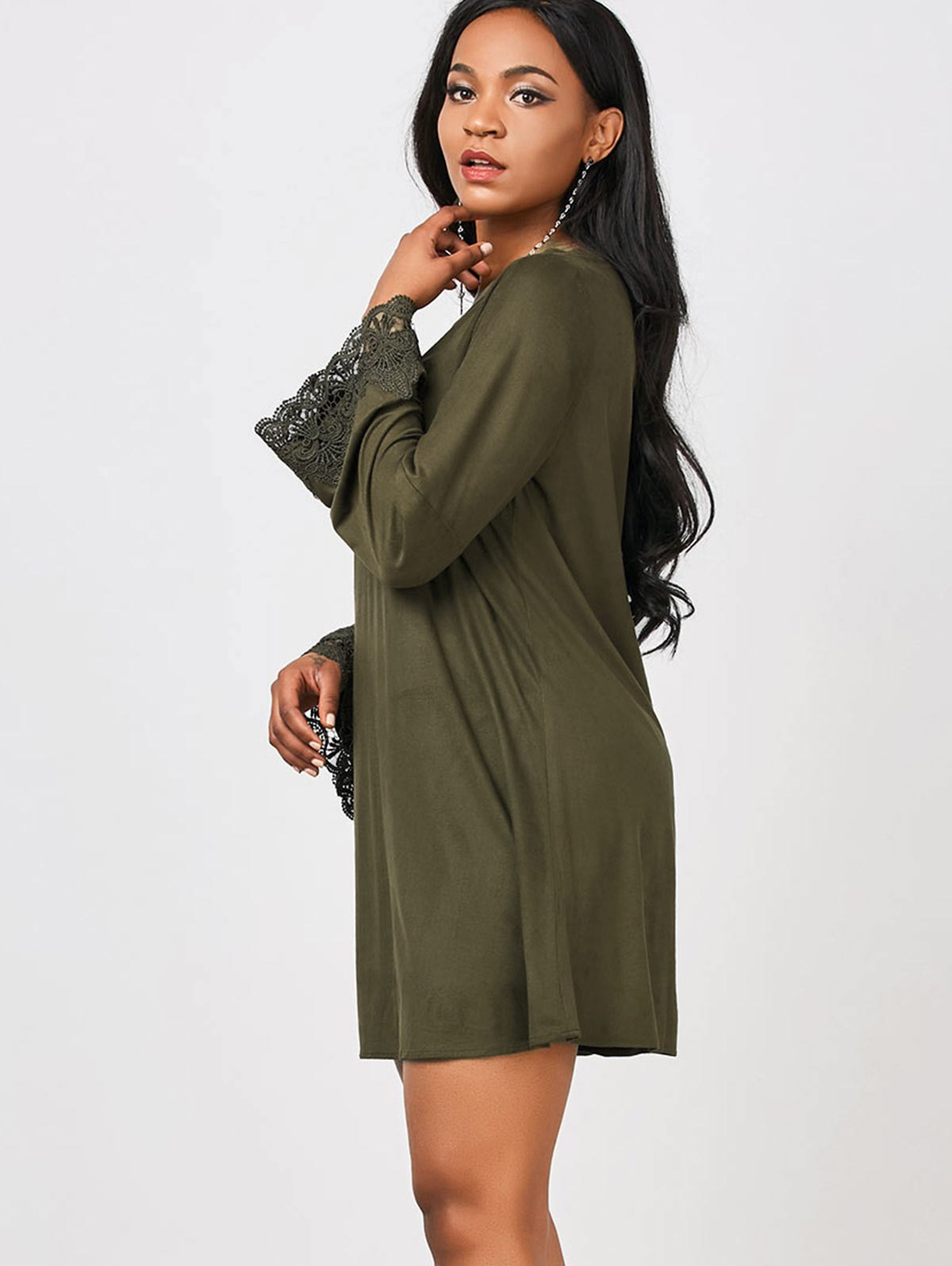 Lace Trim Cut Out Long Sleeve Dress от Zaful.com INT