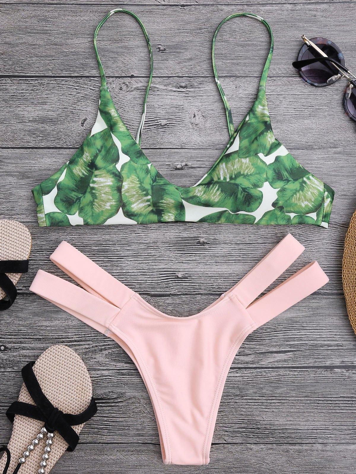 Palm Tree Bikini Top and Bandage Swim Bottoms 213390002