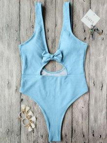 Bowknot Textured High Cut One Piece Swimsuit - Light Blue