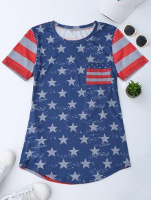 Pocket Patriotic America Flag T-Shirt