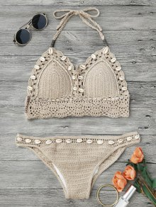 Beaded Seashell Crochet Bikini