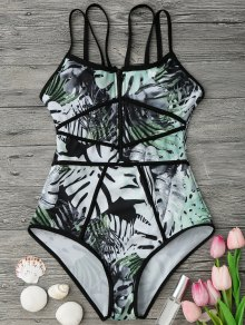 Piping Tropical Print One Piece Swimsuit - Green And Black