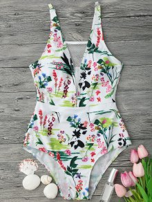 Fishnet Insert Floral One Piece Swimsuit - White