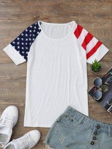 Raglan Sleeve Patriotic American Flag T-Shirt