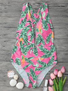 Cross Back Plunge One Piece Swimsuit - Pink