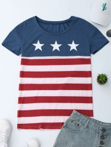 Scoop Neck Patriotic American Flag T-Shirt