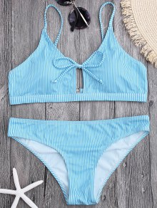 Cami Straps Padded Stripe Bikini - Light Blue