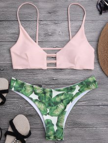 Ladder Cut Palm Tree Print Bikini - Rose Clair