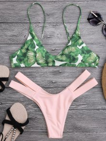 Palm Tree Bikini Top and Bandage Swim Bottoms