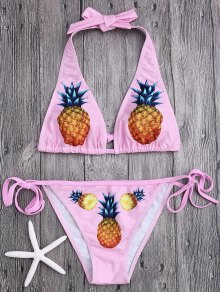 Halter Tied Pineapple Print Bikini - Pink S