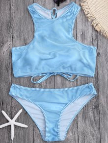 High Neck Stripe Lace Up Bikini