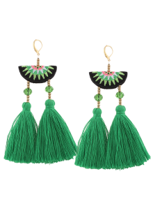 Geometric Embroidery Beads Ethnic Tassel Earrings - Green