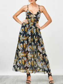 Criss Cross Floral Beach Maxi Dress