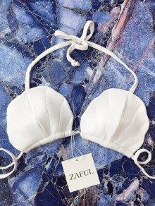 Rib Texture Halter Seashell Bikini Top