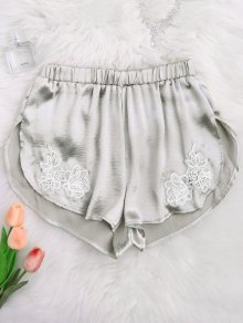 Applique Satin Dolphin Sleep Shorts - Frost M
