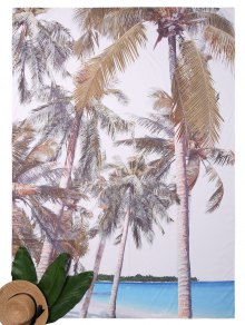 Rectangle Coco Tree Print Beach Throw