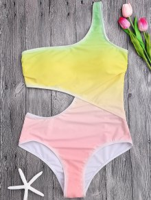 One Shoulder Ombre One Piece Swimsuit - Jaune S