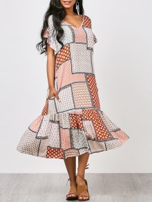 Ruffles Tribal Print Midi Dress - L
