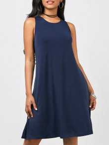 Casual A-Line Knee Length Dress - Purplish Blue S