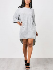 High Low Straight Dress With Pocket - Gray L