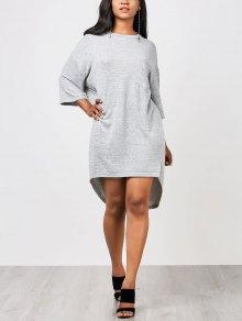Robe Droite Haut-Bas Avec Poche - Gris L