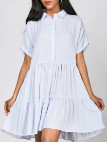 Ruffles Striped Casual Shirt Dress - Stripe