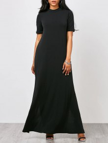 High Neck Slit Maxi Prom Dress - Black L