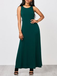 Keyhole Casual Maxi Dress - Malachite Green S