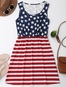 Elastic Waist Patriotic American Flag Dress - Red With White S