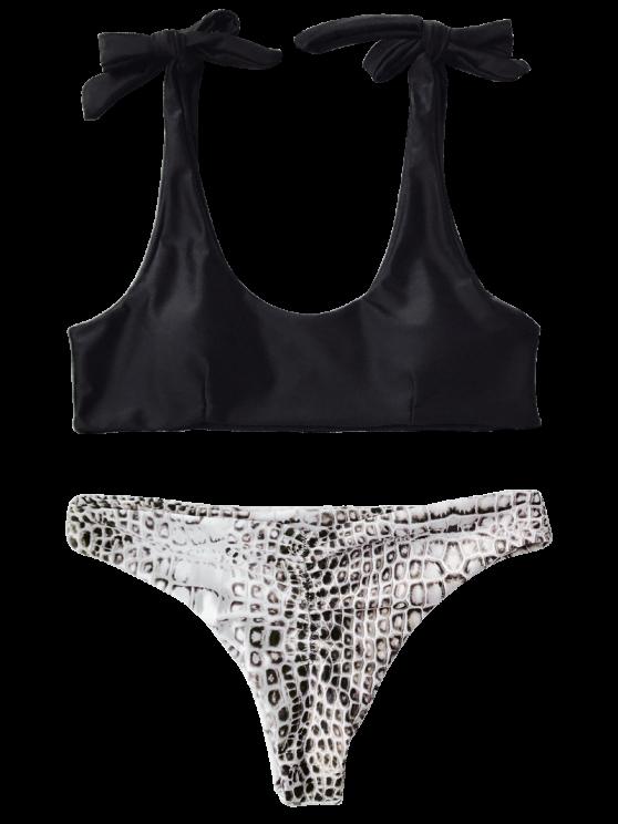 Tie Shoulder Croc Bikini Top and Bottoms - BLACK L Mobile