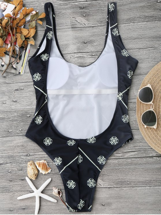 Low Back High Cut One Piece Swimsuit - BLACK S Mobile