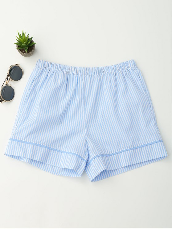lady Elastic Waist Pockets Striped Shorts - STRIPE S