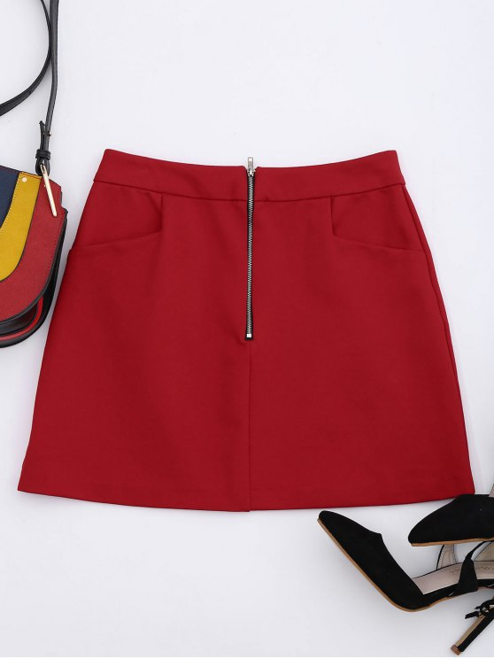 buy Half Zip A-Line Skirt With Pockets - RED S