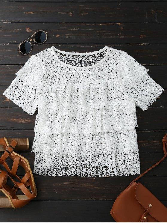 unique Hollow Out Tiered Crochet Lace Top - WHITE L