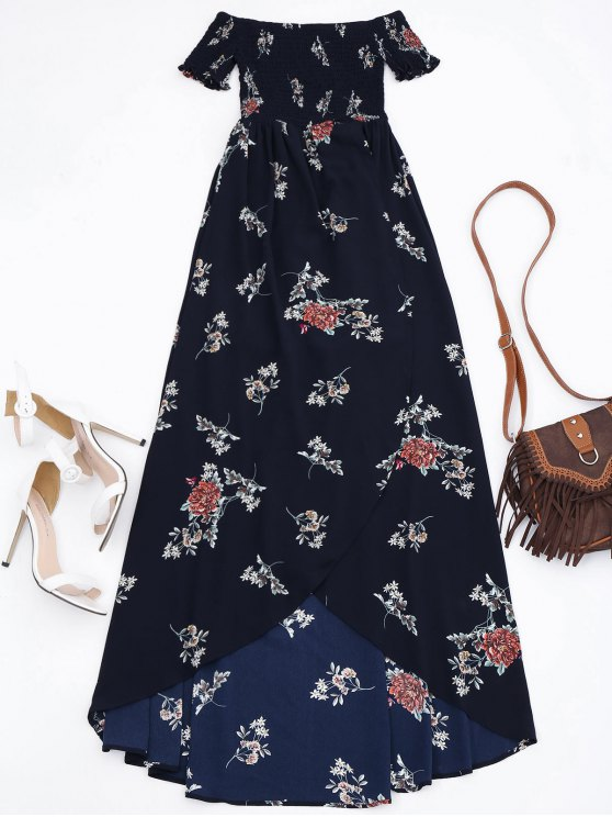 fashion Off Shoulder Floral Shirred Asymmetric Maxi Dress - CADETBLUE S