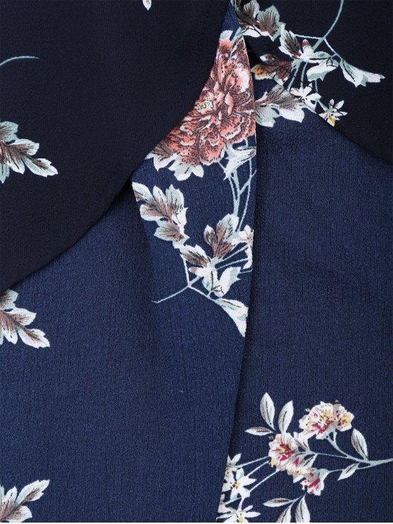 Off Shoulder Floral Shirred Asymmetric Maxi Dress - CADETBLUE S Mobile