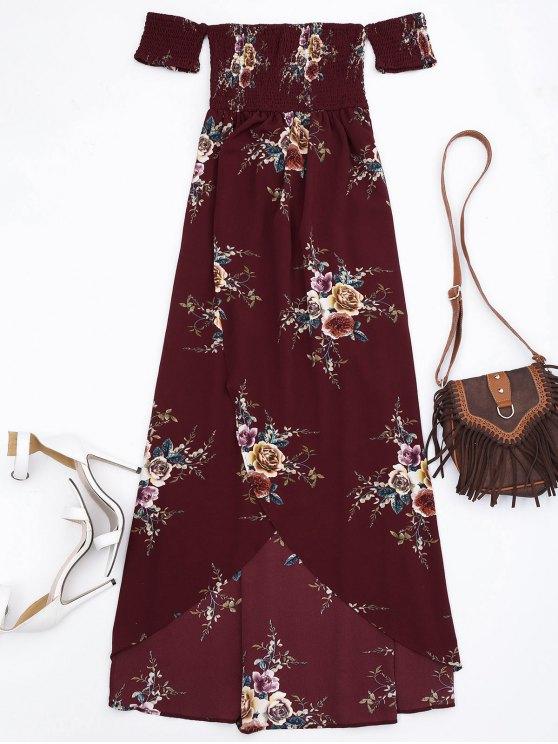 Slit Floral Shirred Cintura Maxi tubo vestido - Burdeos M