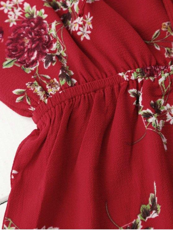 Cold Shoulder Floral Cami Playsuit - RED S Mobile