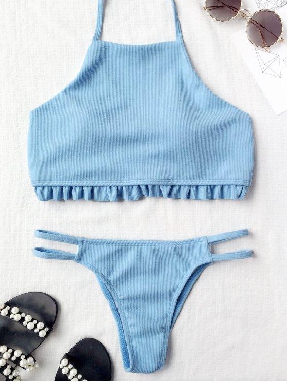 online High Neck Ruffles Ribbed Banded Bikini - ICE BLUE S
