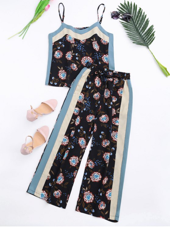 Floral Tank Top and Pants With Stripe - BLACK S Mobile