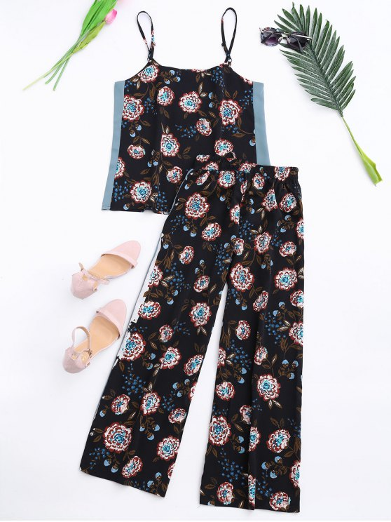 Floral Tank Top and Pants With Stripe - BLACK M Mobile