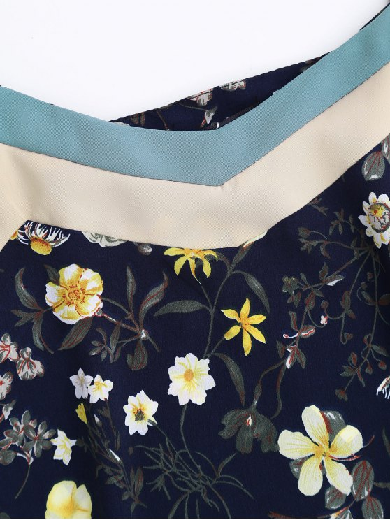 Floral Tank Top and Pants With Stripe - CADETBLUE XL Mobile